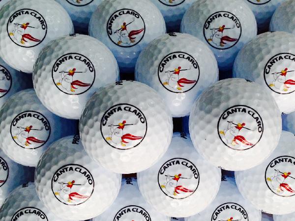 Impresiones digitales en bolas de golf, tees.